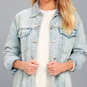 Honey Punch destroyed oversized denim jacket